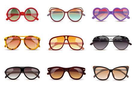 aislado: Sol de verano gafas de sol de protección de iconos realistas fijaron aislado ilustración vectorial