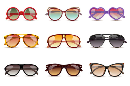 Summer sun protection sunglasses realistic icons set isolated vector illustration 向量圖像