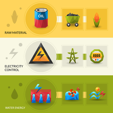 source: Raw material water energy and electric control polygonal horizontal banner set isolated vector illustration Illustration