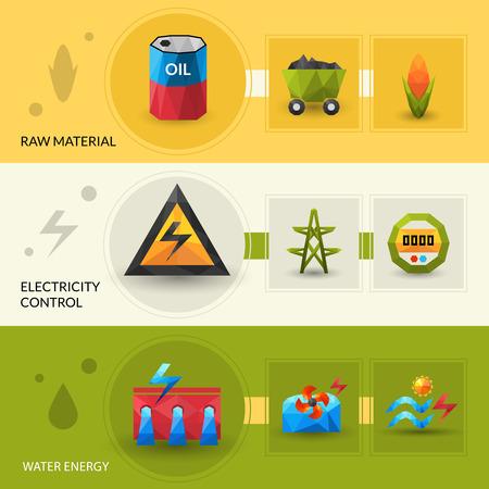 source d eau: Raw énergie de l'eau de matériel et de commande électrique polygonale bannière horizontale ensemble vecteur isolé illustration