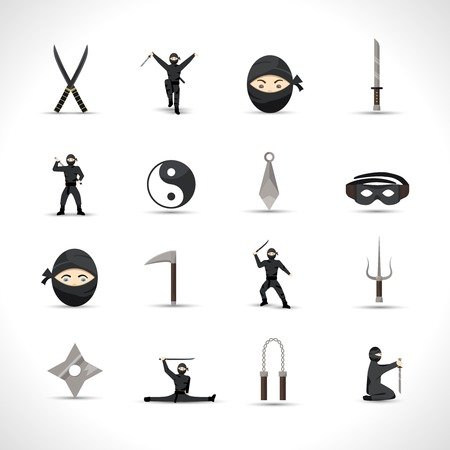 japanese ninja: Ninja icons flat set with japanese men in traditional fighting costumes and weapon isolated vector illustration Illustration