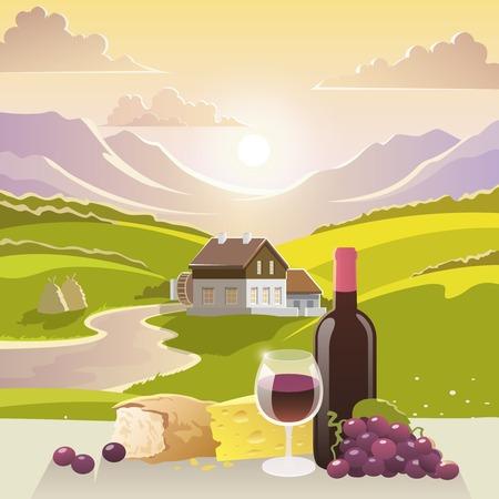 bread and wine: Vino y queso y pan con paisaje de monta�a y la casa de campo en el fondo ilustraci�n vectorial Vectores