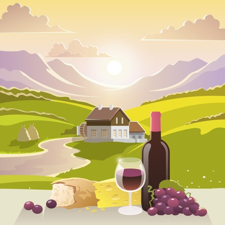 bread and wine: Wine cheese and bread with mountain landscape and country house on background vector illustration