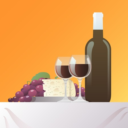 still: Red wine bottle and glasses with grape and cheese still life vector illustration