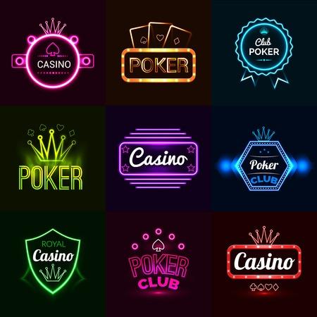 Neón póker luz del club y casino emblemas establecer ilustración vectorial aislado