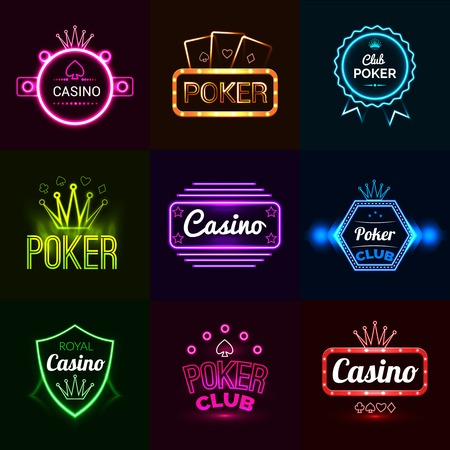 Neon light poker club and casino emblems set isolated vector illustration