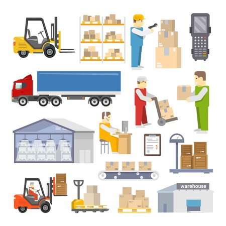 work load: Warehouse icons flat set with shipping and delivery objects isolated vector illustration Illustration