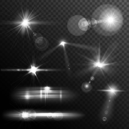 Realistic lens flares star lights and glow white elements on transparent background vector illustration Vettoriali