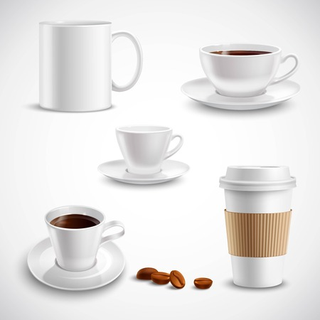 breakfast cup: Realistic coffee set with paper cup china mug porcelain saucer isolated vector illustration