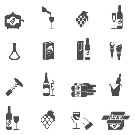 winery: Wine making and winery icon black set isolated vector illustration