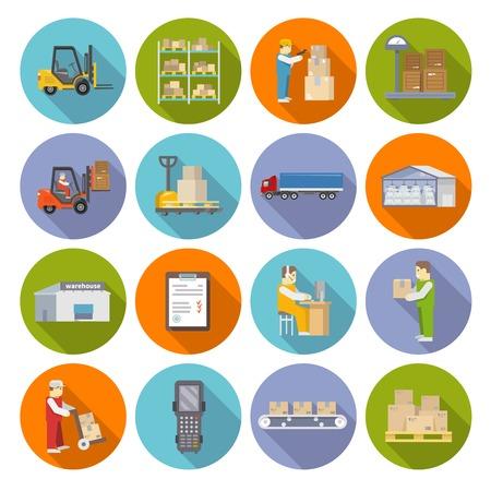 carretillas almacen: Existencias en almacenes y almacenamiento industrial iconos plana conjunto aislado ilustración vectorial