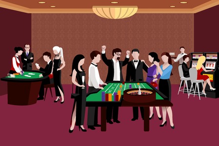 casino machine: People in casino standing around the roulette table flat vector illustration