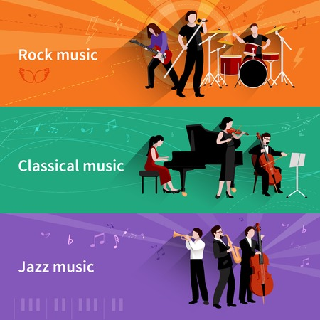 clarinet player: Musicians horizontal banner set with rock classical jazz music elements isolated vector illustration