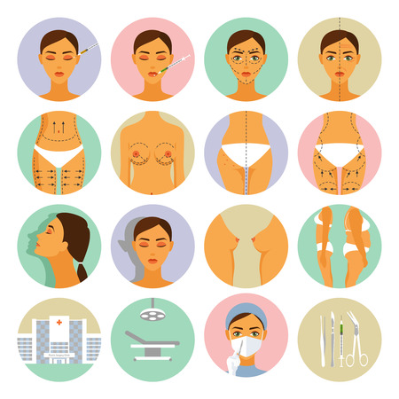 Plastic surgery for women anti age methods round icons set flat isolated vector illustration