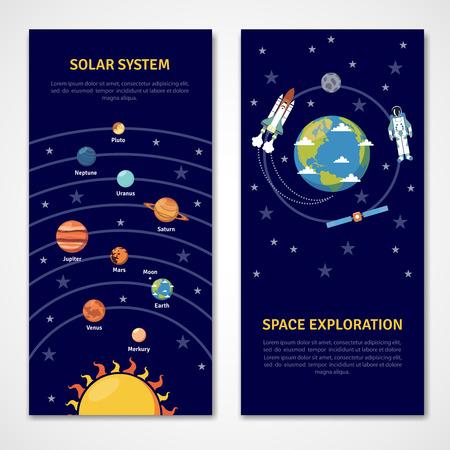 太陽系と宇宙探査の概念分離バナー フラット ベクトル図  イラスト・ベクター素材