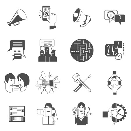 forums: Internet online forums concept black icons set with users group message bubbles conversation abstract isolated vector illustration