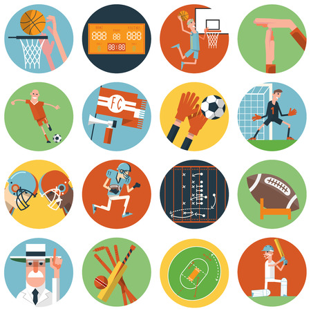 arbiter: Competitive team sport matches with umpire referee arbiter symbols flat round icons set abstract vector isolated illustration Illustration