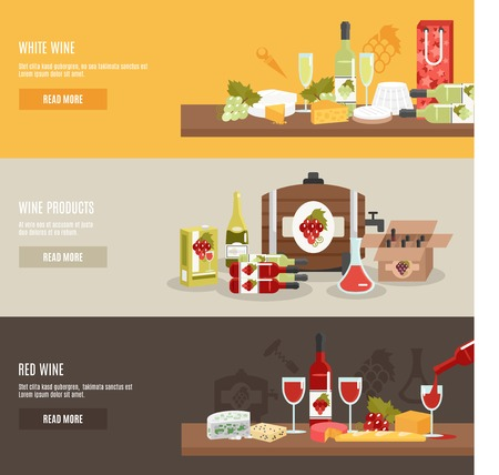 cooler: Wine horizontal banner set with red and white products isolated vector illustration