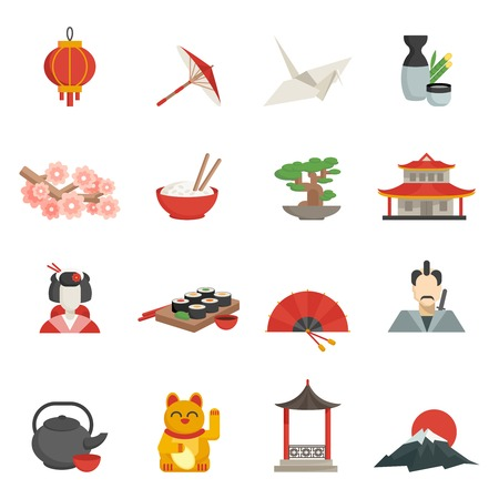 Japanese icons flat set with lantern umbrella crane isolated vector illustration