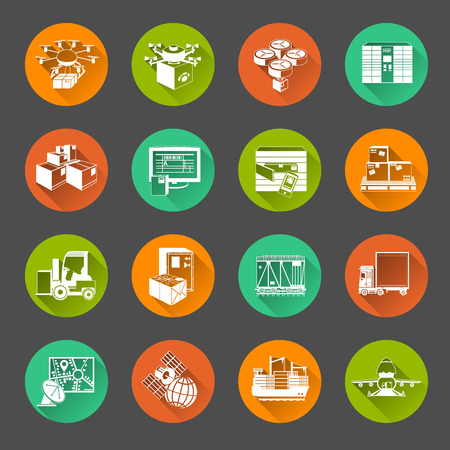 slant: New automatic sorting and delivery logistics systems flat round slant shadow icons set abstract isolated vector illustration