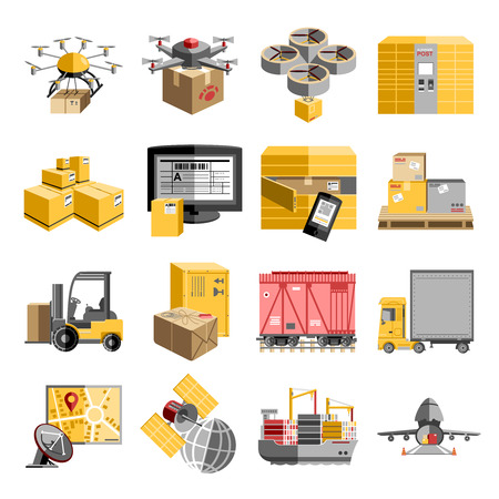 decentralized: New logistics unmanned decentralized delivery systems flat pictograms collection with flying drone  robots abstract isolated vector illustration