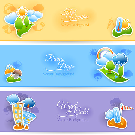 Hot rainy and cold windy days seasonal weather background flat horizontal banners set abstract  isolated vector illustration Vector