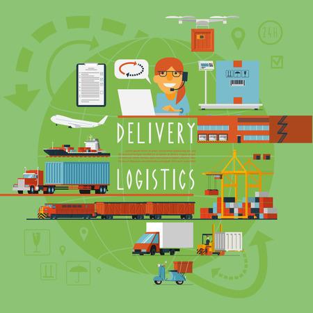 transporte: Gestión internacional de transporte aéreo y marítimo ferroviario operaciones de la empresa de logística en todo el mundo el concepto del cartel ilustración vectorial abstracto Vectores