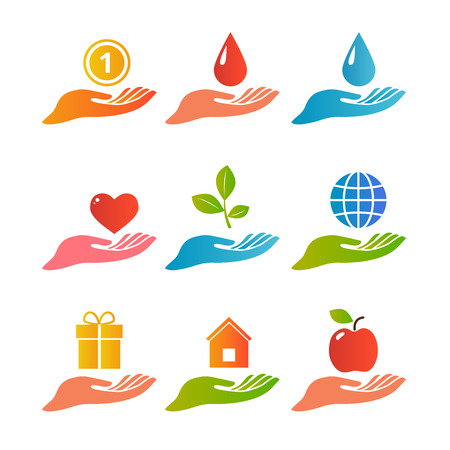 globe hand: Hands and palm up concept with various objects logo set flat isolated vector illustration