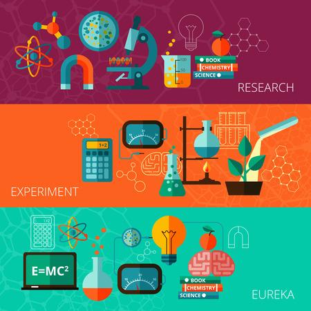 화학 및 물리 과학 연구 실험 유레카 순간 개념 평면 가로 배너 설정 추상 고립 된 벡터 일러스트 레이 션