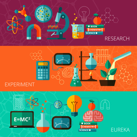 scientific experiment: Chemistry and physics scientific research experiment eureka moment concept  flat horizontal banners set abstract isolated vector illustration