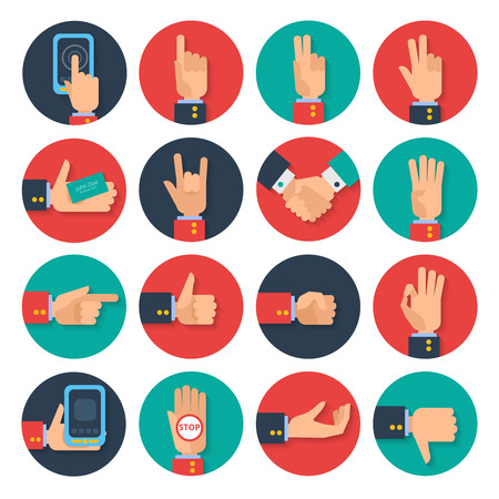 Body language hand gestures icons  tablet apps set for business card sharing symbols flat abstract vector illustration
