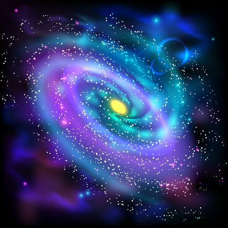 Espacio Cosmos luminosa galaxia espiral póster científico astronómico con disco de estrellas de polvo ilustración vectorial abstracto de rotación