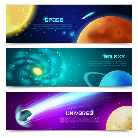 galaxy: Cosmos space galaxy astronomical educational three horizontal banners set with sun and comets abstract isolated vector illustration
