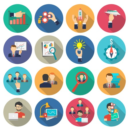 interface icon: Business collaboration icons flat long shadow set isolated vector illustration