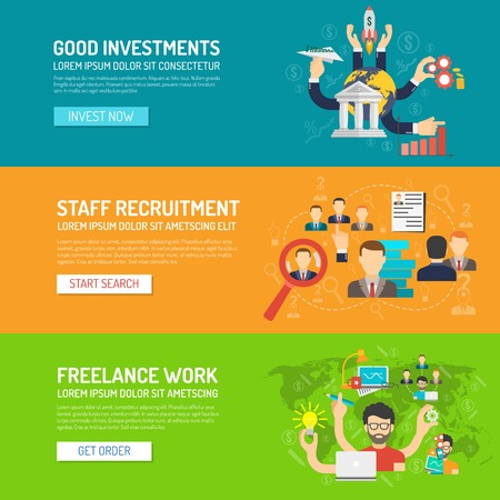 business banner: Business banner horizontal set with investments recruitment freelance work elements isolated vector illustration