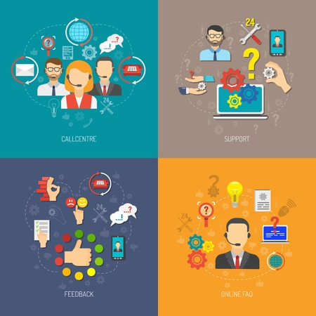 Ondersteuning ontwerpconcept set met online FAQ en 24u feedback vlakke pictogrammen geïsoleerd vector illustratie