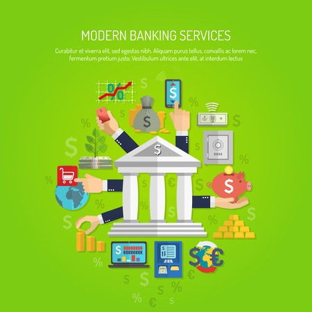 Banking service concept with human hands and flat finance icons vector illustration Banco de Imagens - 40458653