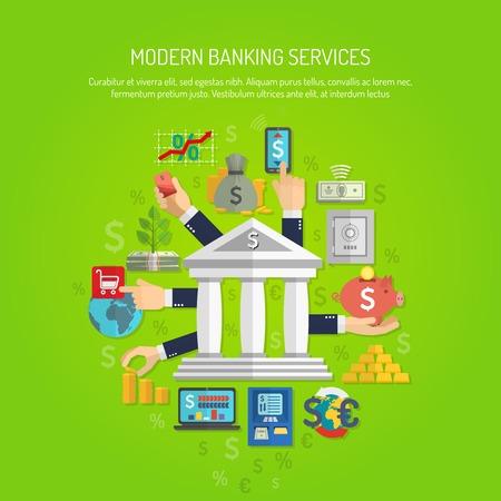 banco dinero: Concepto de servicio de Banca por manos humanas y financiaci�n de los iconos planos ilustraci�n vectorial Vectores