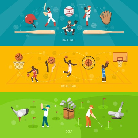 Sports banner horizontal set with baseball basketball golf players isolated vector illustration Illustration