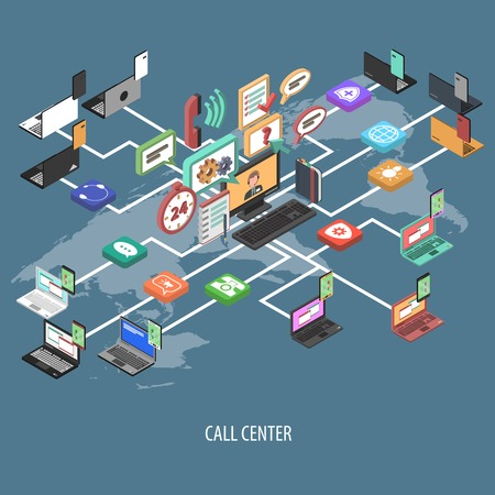 call center office: Support call center isometric flowchart concept with 3d communication buttons and world map vector illustration Illustration