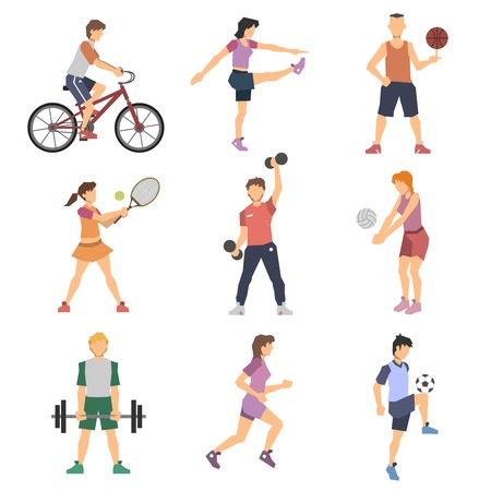 gymnastics: Sport people flat icons set with men and women cycling playing football and tennis isolated vector illustration