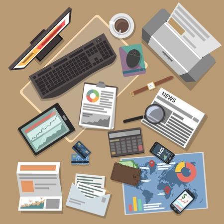 operations: Op�rations bancaires concept avec des rapports financiers et des investissements plats symboles illustration vectorielle Illustration