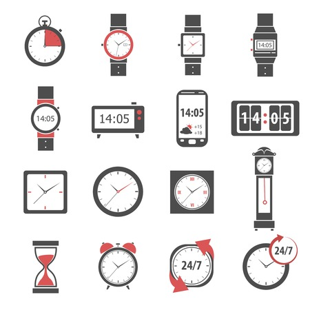 24 hour: Time icon black set with digital and analog watch clock and stopwatch isolated vector illustration