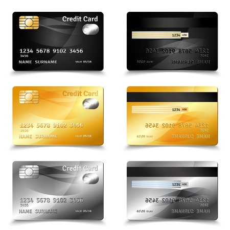 decorative card symbols: Credit card set in golden black and grey design realistic isolated vector illustration