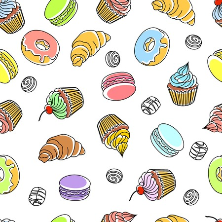 sweet: Cakes seamless pattern with donuts cupcakes and croissants vector illustration