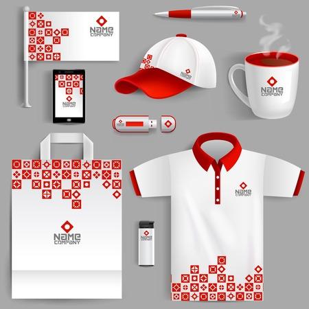 Corporate identity rosso set con annuncio realistico sacchetto di carta bandiera tazza di caffè illustrazione vettoriale isolato