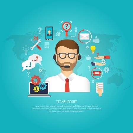 Concepto de soporte técnico con operador masculino y símbolos de servicio al cliente ilustración vectorial plana