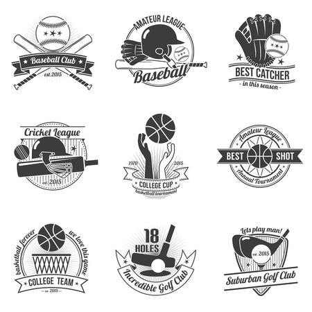 baseball: Ilustración vectorial aislado etiqueta palos de golf deporte del grillo Béisbol conjunto negro