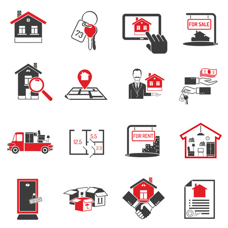 housing estate: Real estate and housing black red icons set on white background isolated vector illustration Illustration