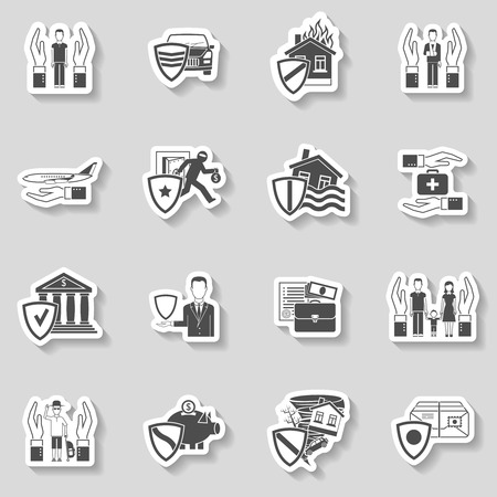 Property health freight insurance paper sticker set isolated vector illustration